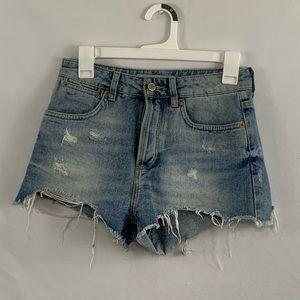 Topshop Moto denim distressed shorts